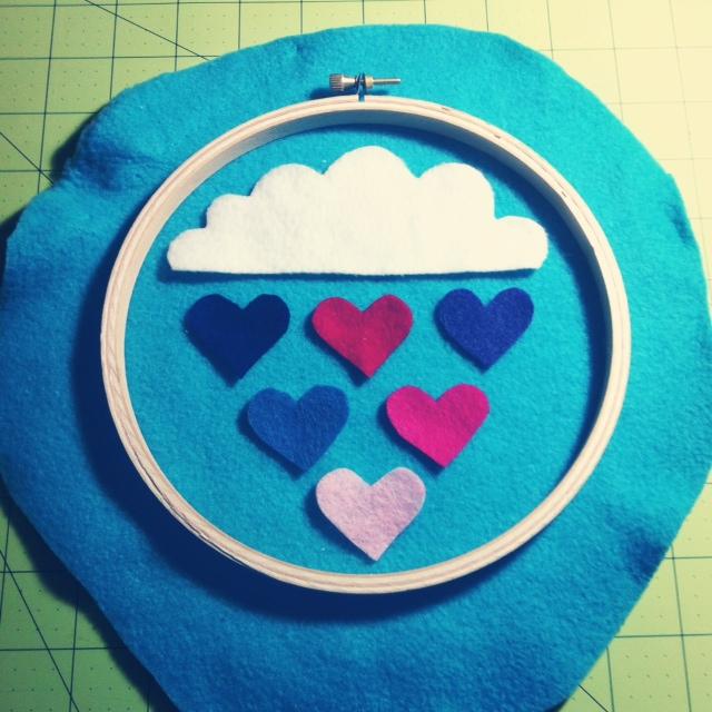 Raining Hearts Hoopla laid out from SewCreativeBlog.com