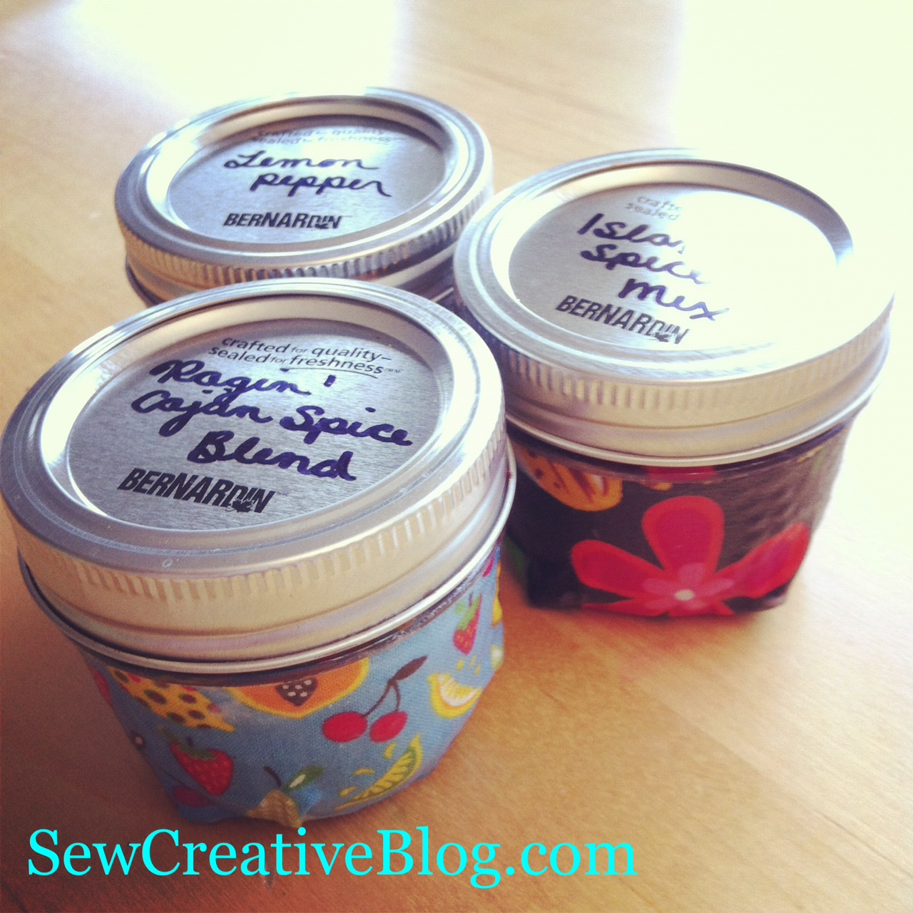finished modge podge spice jars from SewCreativeBlog.com