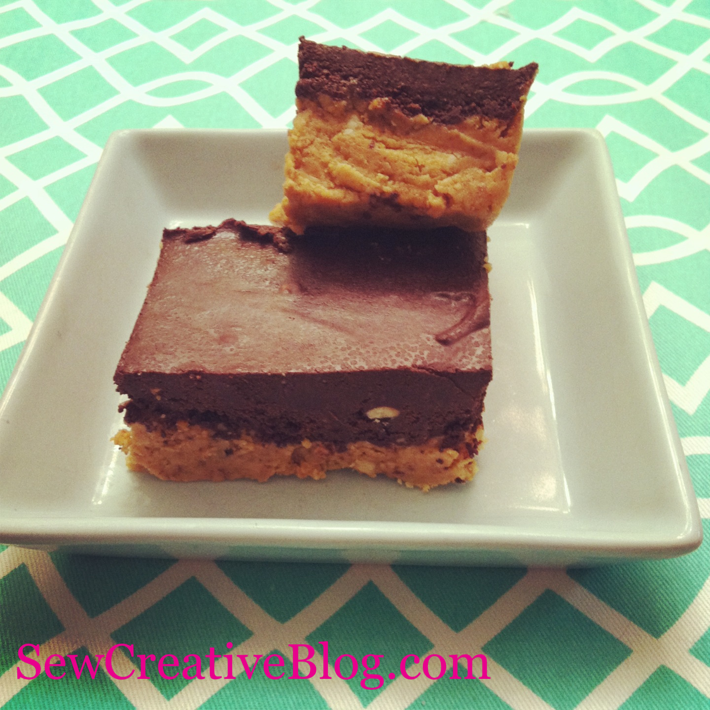 Chocolate Peanut Butter Bar Recipe Finished Bars