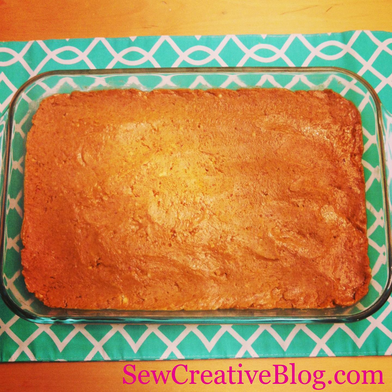Chocolate Peanut Butter Bar Recipe Peanut Butter Mixture In Pan