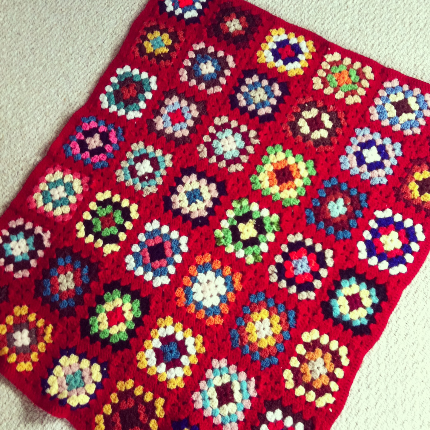Red Granny Square Afghan