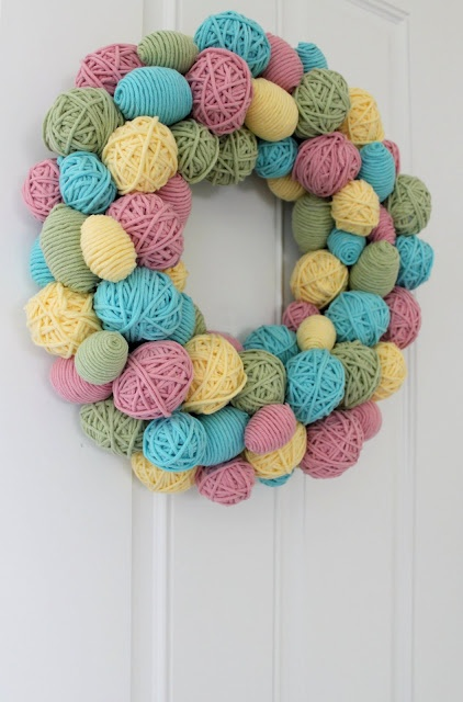 Yarn Wrapped Easter Wreath