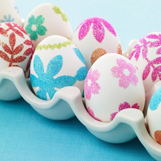 ... Glitter Eggs using double sided adhesive, craft punch and glitter from