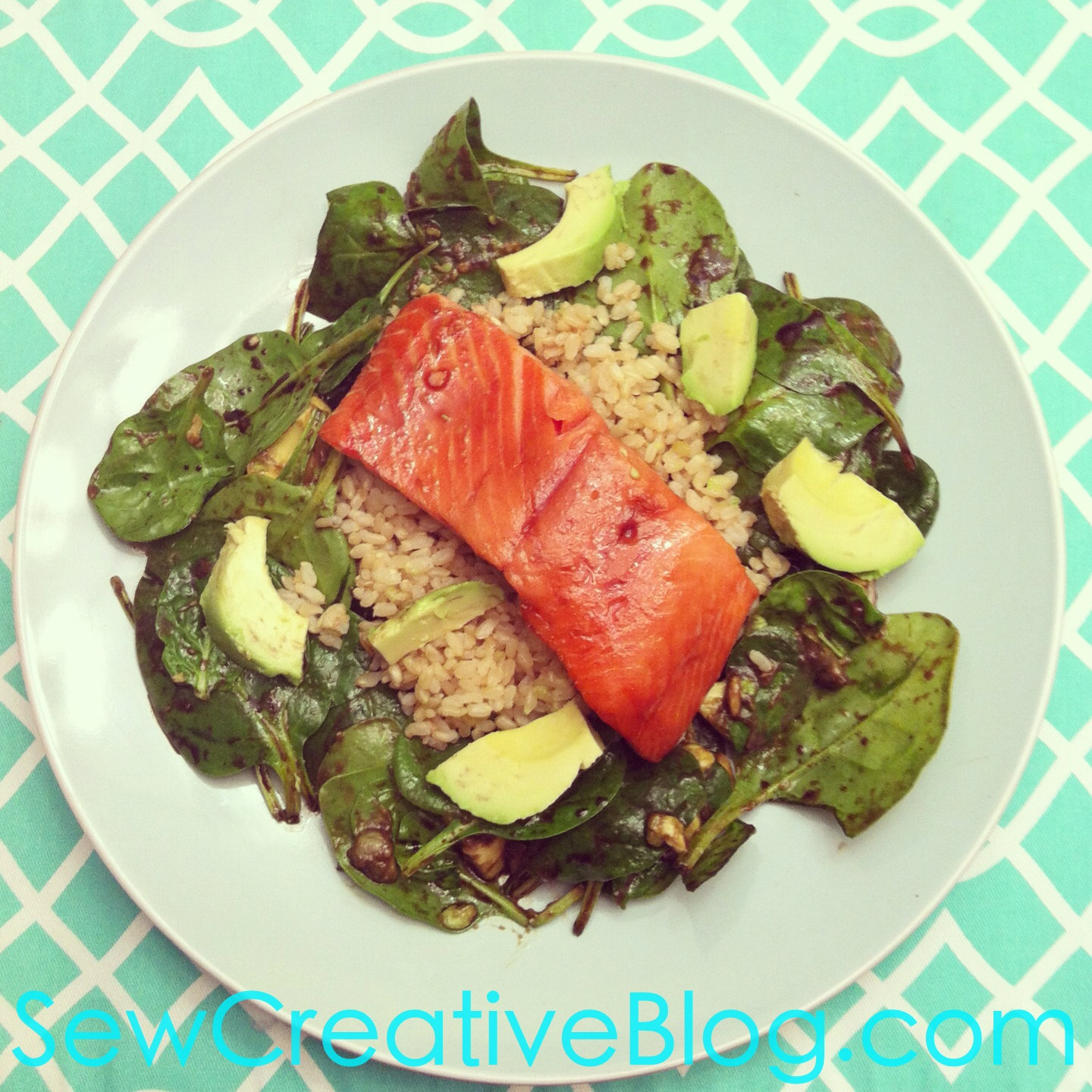 Salmon Spinach and Avocado Salad Recipe with Brown Rice or Quinoa from Sew Creative Blog