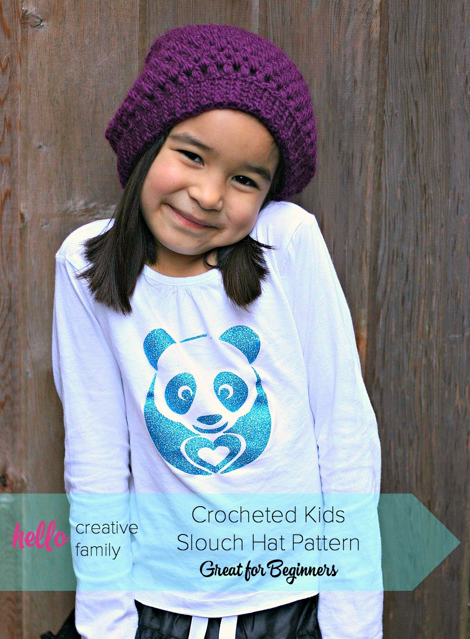 Sew Creative Crocheted Kids Slouch Hat Pattern- Great for Beginners ... 7583d0bb375