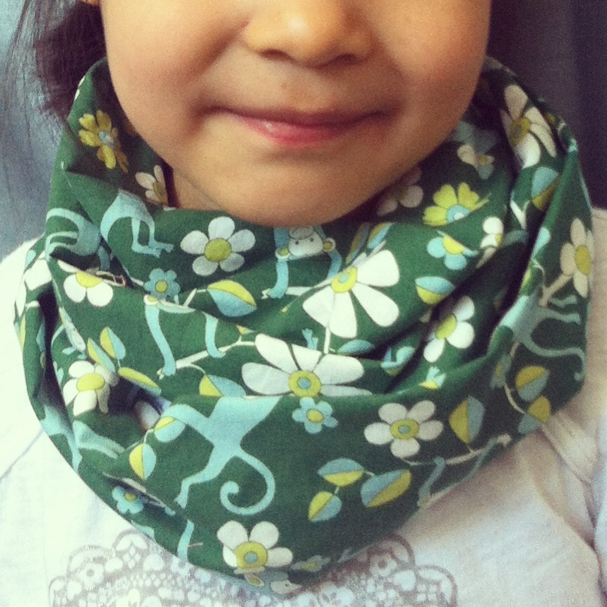 Green Monkeys kids infinity scarf from Lilikoi Lane