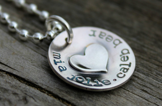 Hand Stamped Necklace Moo and The Bear