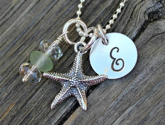 Hand Stamped Necklace Starfish and Seaglass Moo and The Bear 2