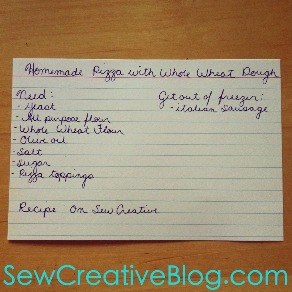 Homemade Whole Wheat Pizza Dough Menu Board Card From Sew Creative Blog 3