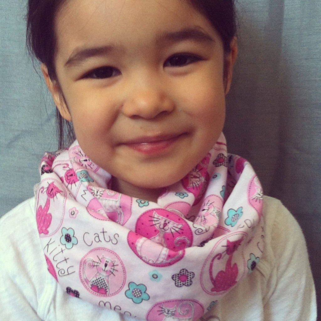 Pink Kitties kids infinity scarf from Lilikoi Lane
