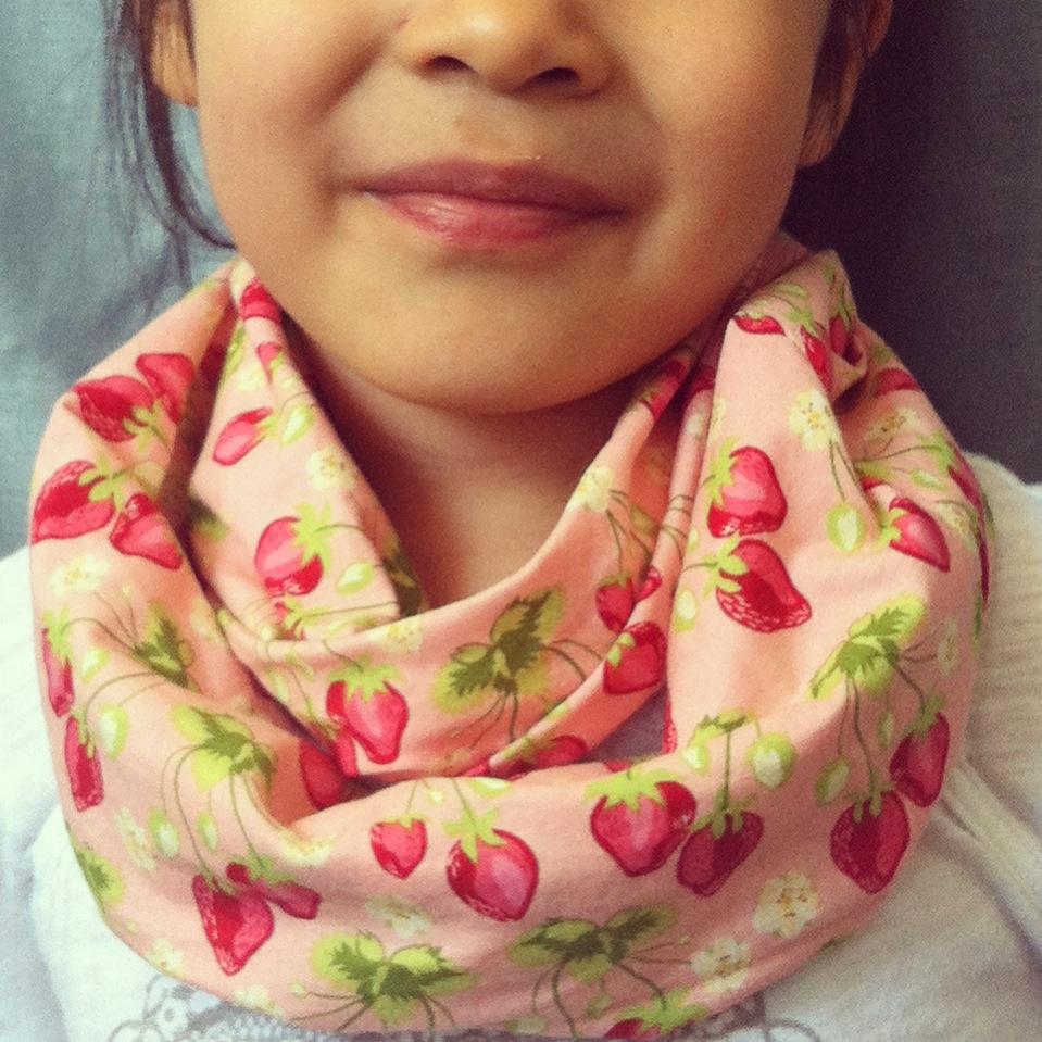 Strawberry Fields kids infinity scarf from Lilikoi Lane