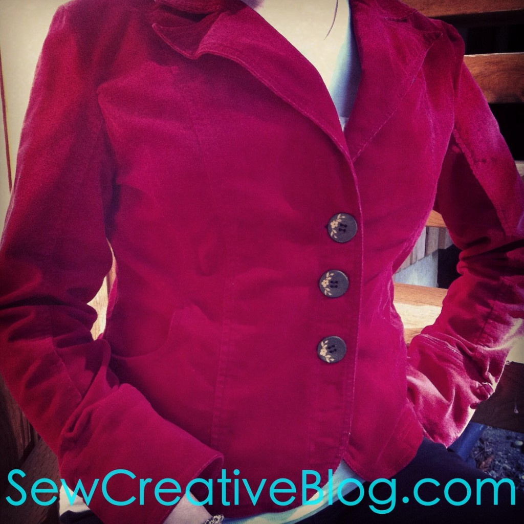 Thrift Store Find Re-invented jacket red cord