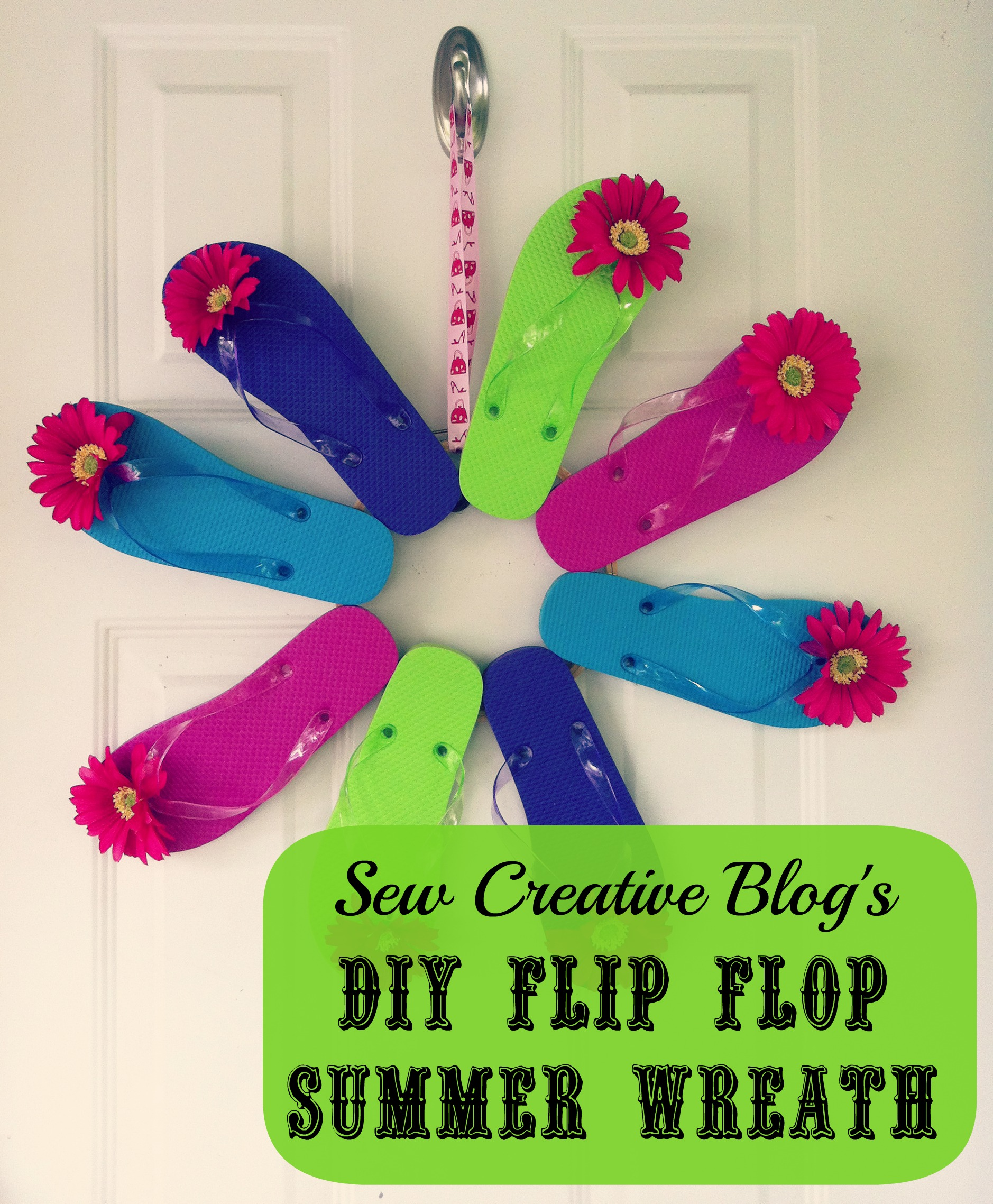 Sew Creative DIY Flip Flop Front Door Summer Wreath Decoration