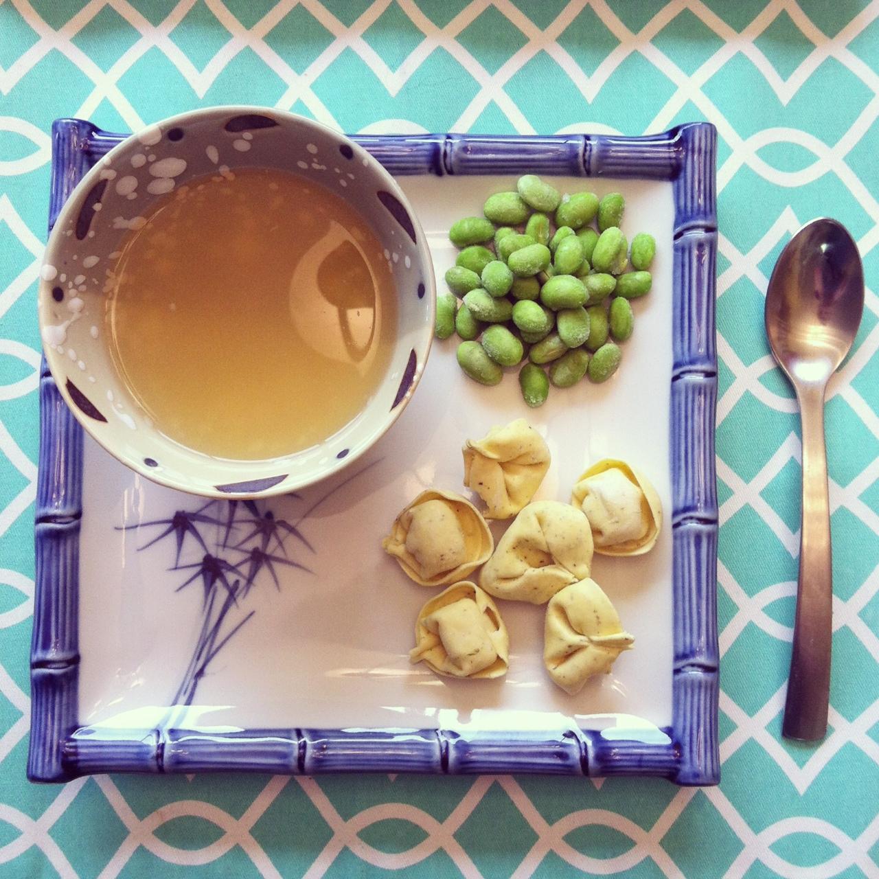Tortellin soup deconstructed