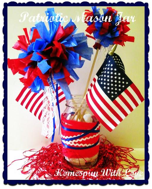 Fourth of July Patriotic Mason Jar