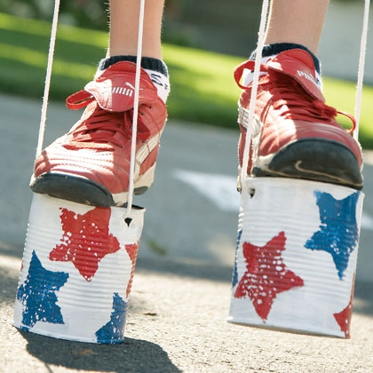 Retro Kids Tin Can Stilts Fourth Of July Themed