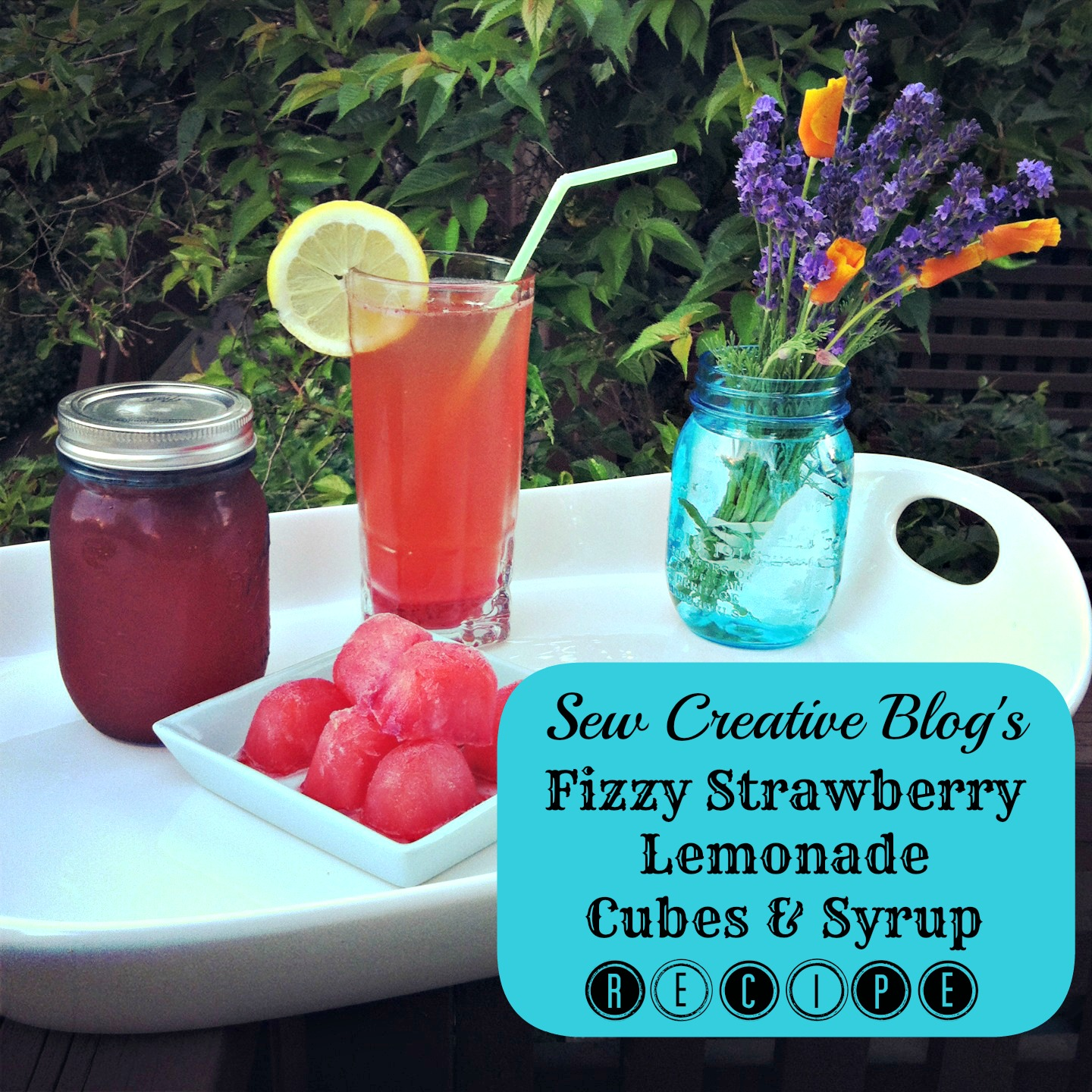 Sew Creative Blog's Fizzy Strawberry Lemonade Cubes and Syrup Recipe