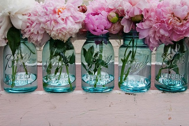Beautiful Peony Blue Glass Flower Centerpieces Gorgeous For A Wedding