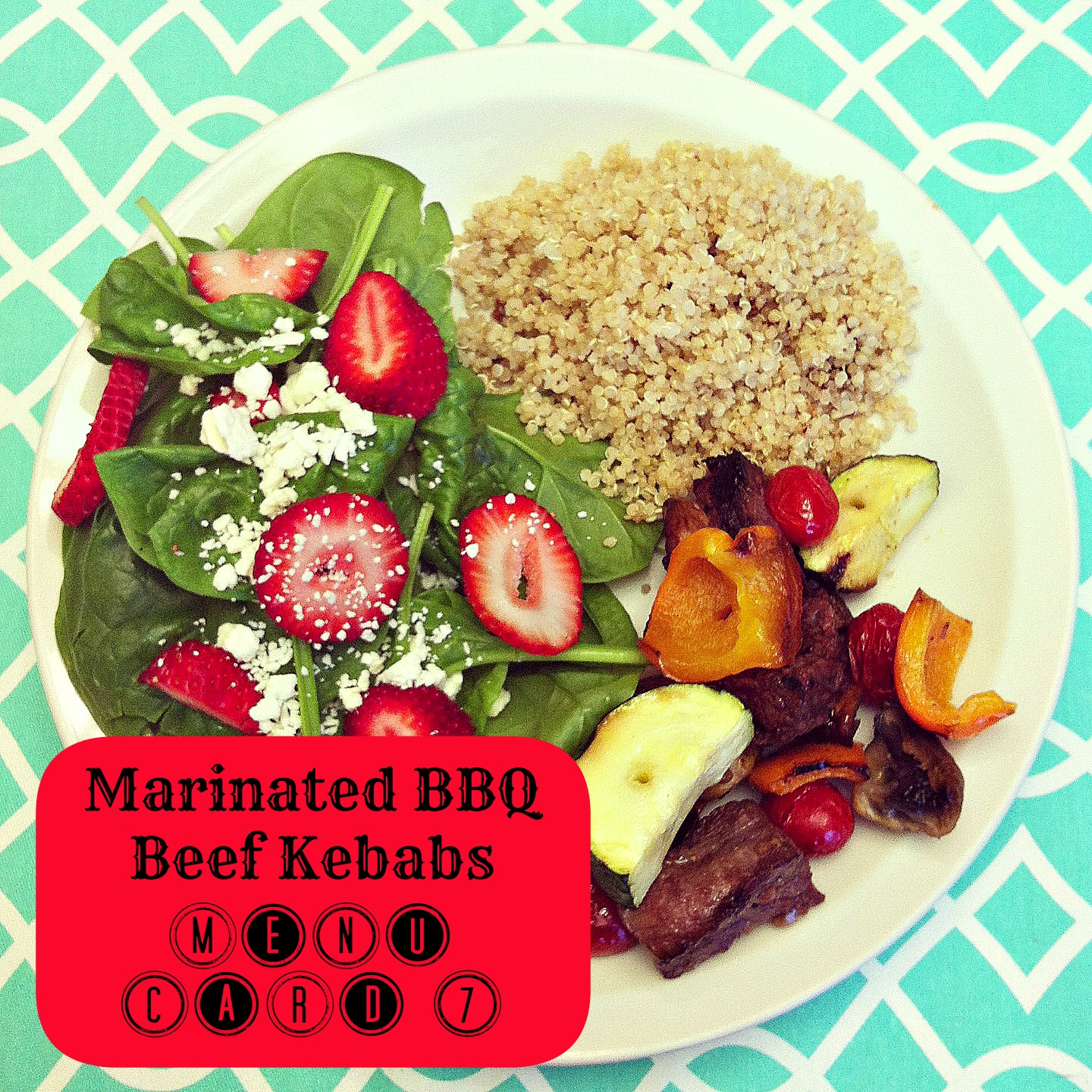 Marinated BBQ Beef kebabs with quinoa and strawberry & spinach salad