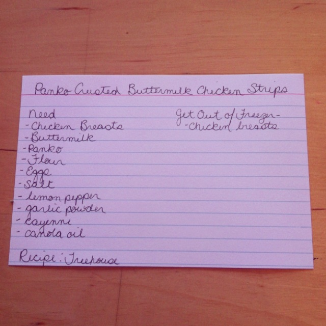 Menu Card for Panko Crusted Buttermilk Chicken Strips for Sew Creatives Meal Planning Series