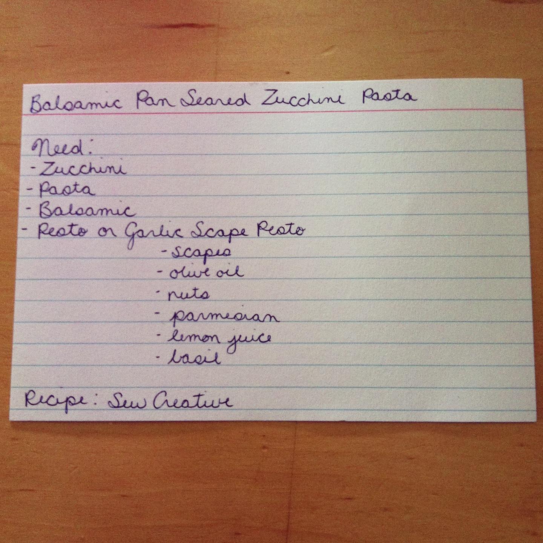 Pan Seared Balsamic Baby Summer Squash Zucchini Past with Garlic Scape Pesto Menu Card