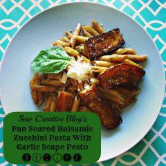 Recipe- Pan Seared Balsamic Zucchini Pasta with Garlic Scape Pesto Menu Card 6