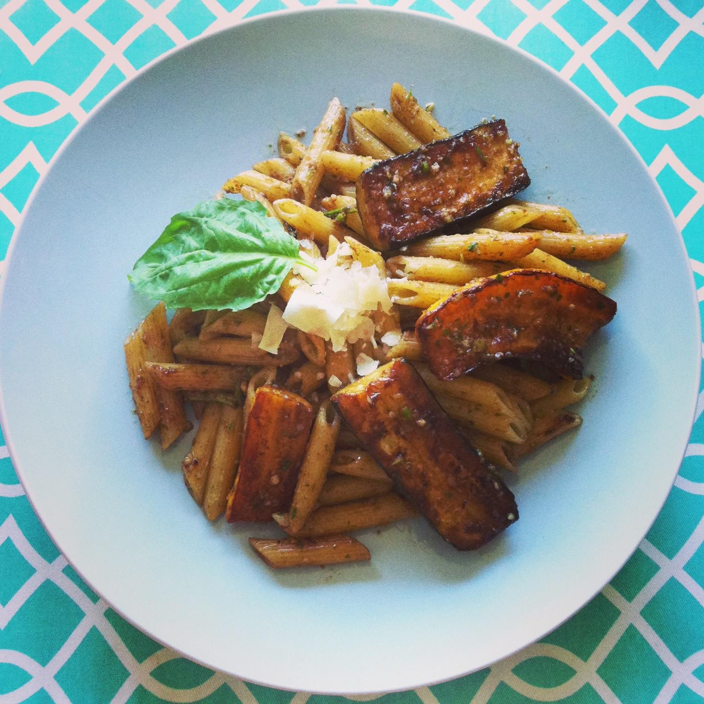 Pan Seared Balsamic Baby Summer Squash Zucchini Past with Garlic Scape Pesto