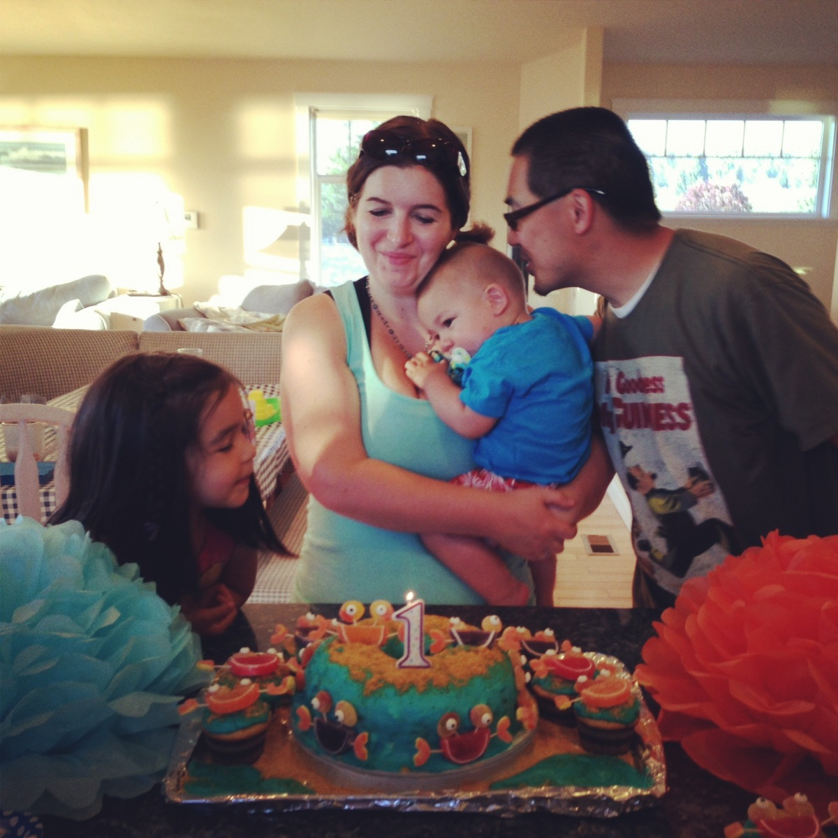 Sew Creative Family Enjoying Turtle's First Birthday