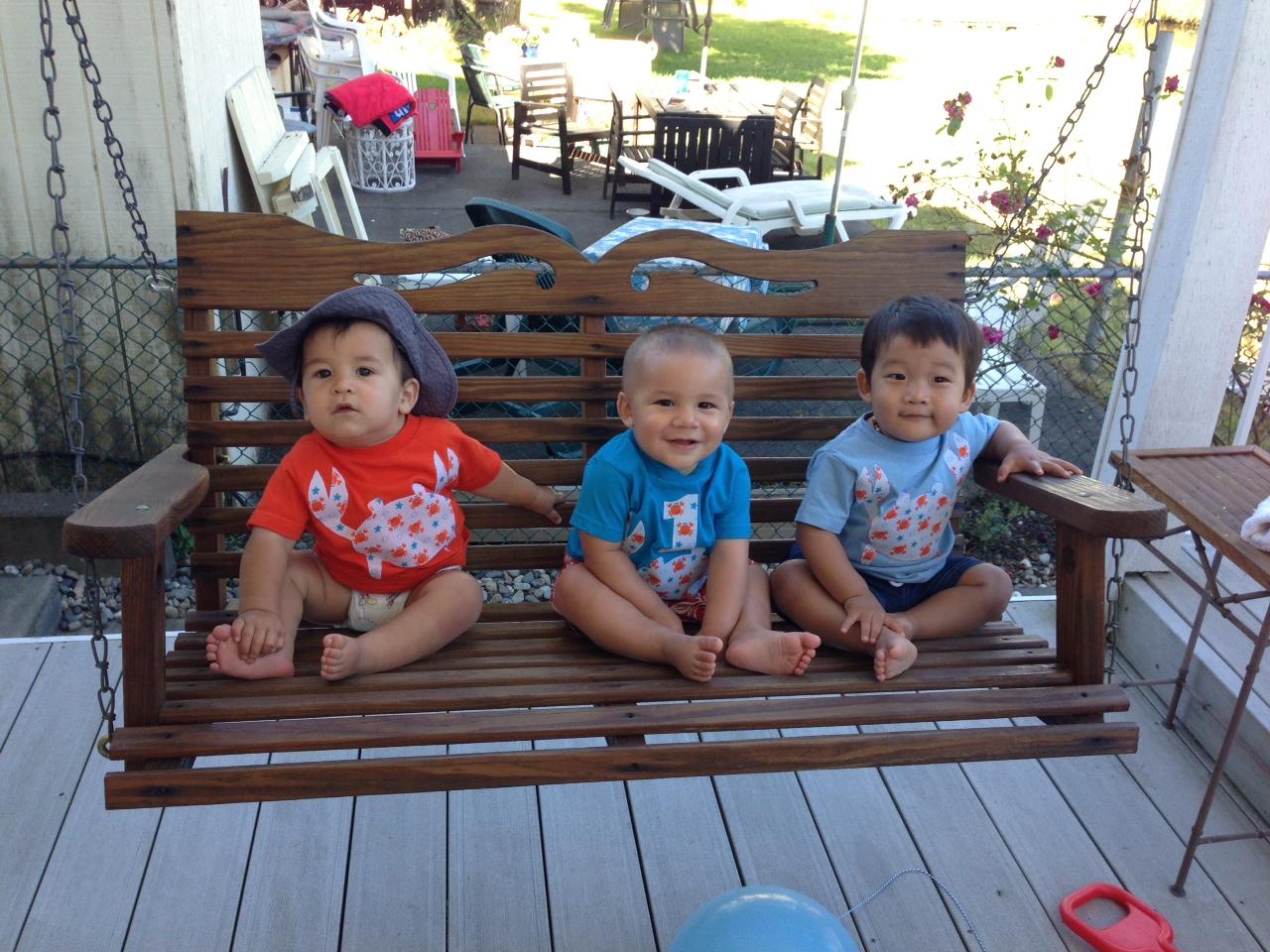 The boys in their Lilikoi Lane Crab shirts