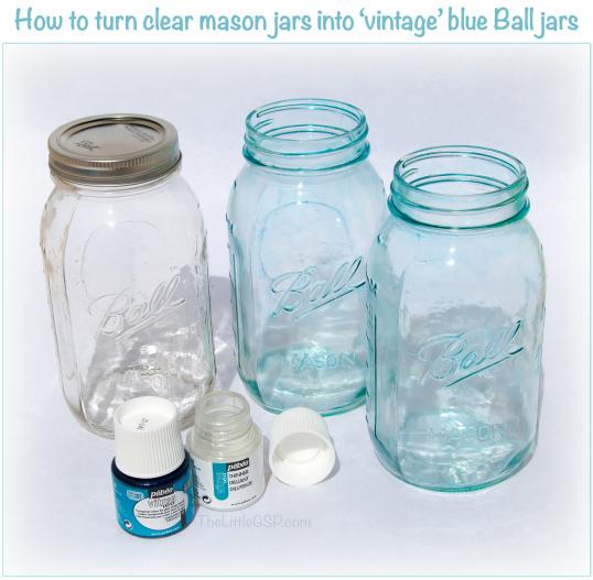Turn Clear Mason Jars into Blue Glass Mason Jars