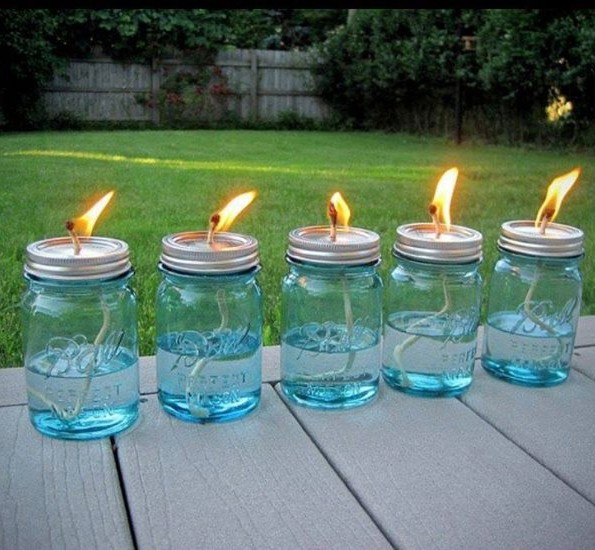 Tutorial for Mason Jar Citronella Oil Lamps to keep the bugs away