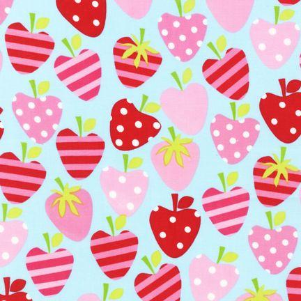 Ann Kelle Metro Market Aqua strawberries fabric for Robert Kaufman
