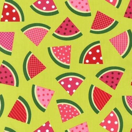 Ann Kelle Metro Market CHARTREUSE watermelons fabric for Robert Kaufman