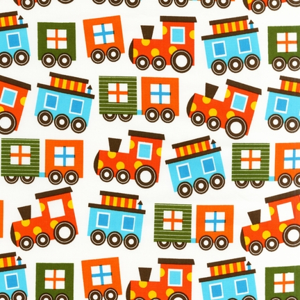 Ann Kelle Ready Set Go Trains fabric for Robert Kaufman