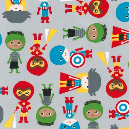 Ann Kelle Super Kids Adventure Grey Boys fabric for Robert Kaufman