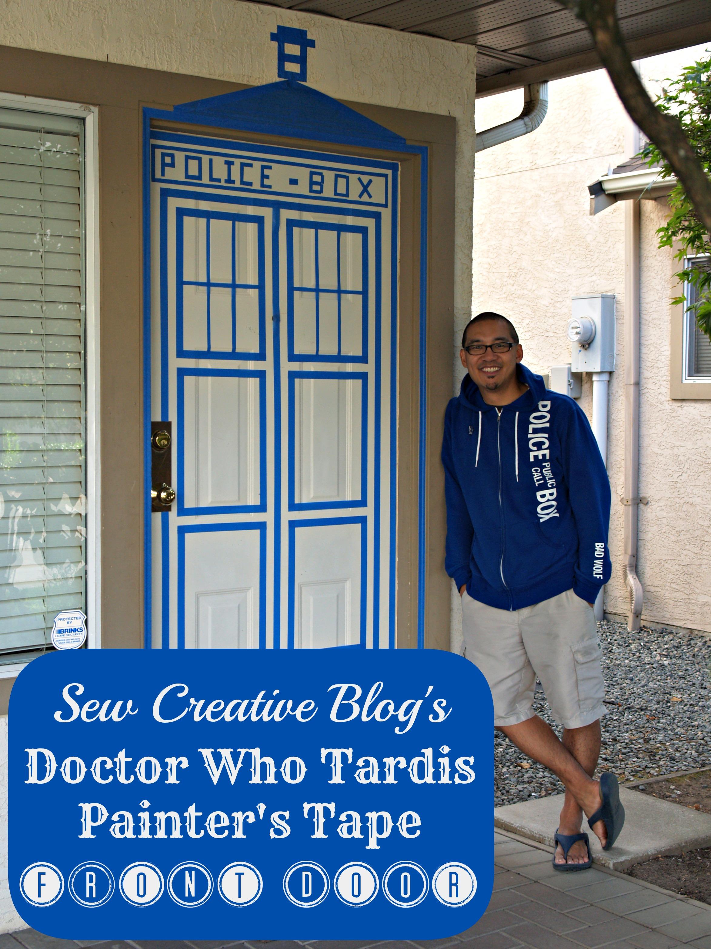 & Doctor Who Painters Tape Tardis Front Door Decor - Hello Creative Family