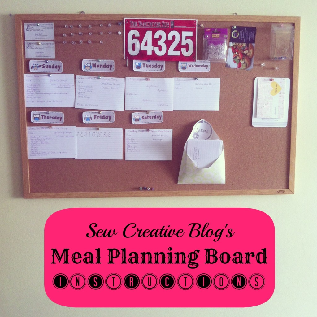 Sew Creative Meal Planning Board System