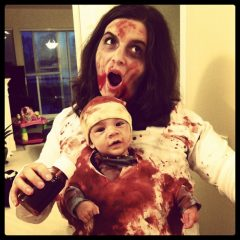 Little Red Riding Hood & Zombie Mommy and Baby Family Halloween Costumes