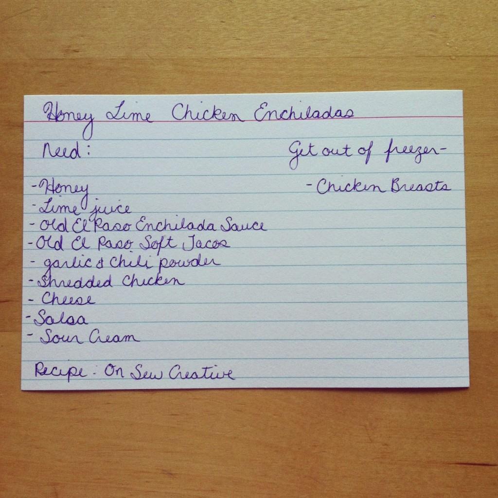 Honey Lime Chicken Enchilada Recipe Menu Planning Card from Sew Creative