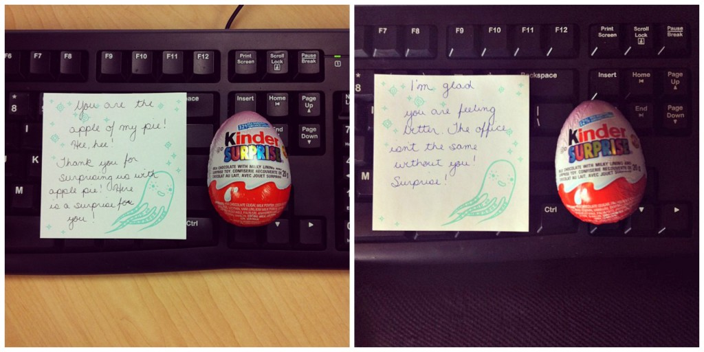 Kinder Surprise with Notes for Coworkers