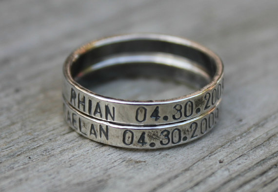 Handstamped personalized Rings