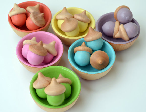 Wooden Acorns and Colored Bowls from Bright Life Toys