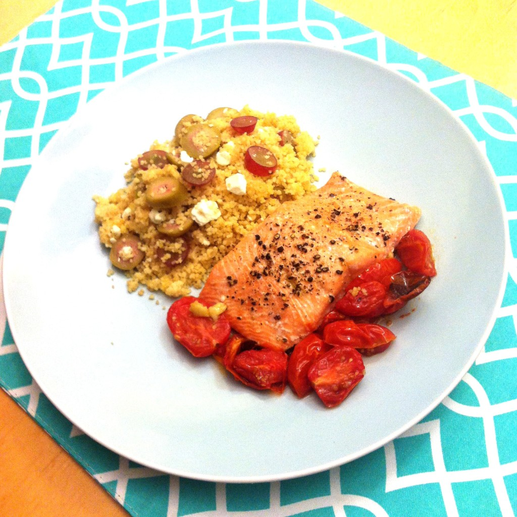 eMeals Salmon with Blistered Tomatoes and Israeli Cous Cous with grapes, green olives and feta 3