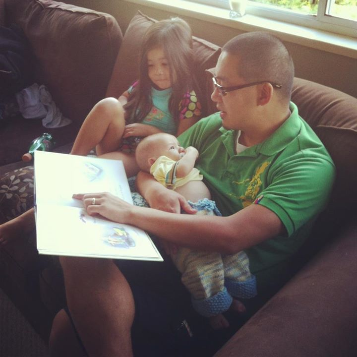 Bean Adam and Daddy Reading