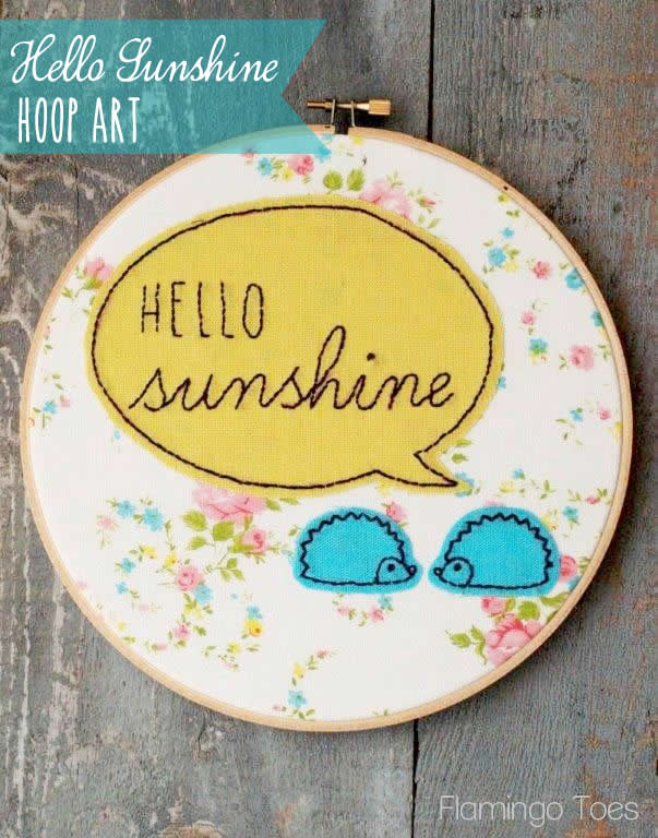 Hello-Sunshine-Hoop-Art from Flamingo Toes