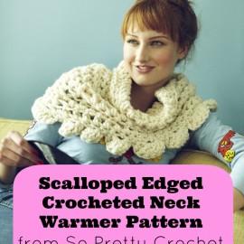 Scalloped Edged Crocheted Neck Warmer Pattern from So Pretty Crochet