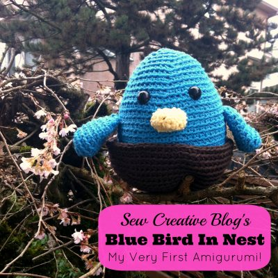 My Very First Amigurumi- Crocheted Blue Bird Amigurumi in Nest