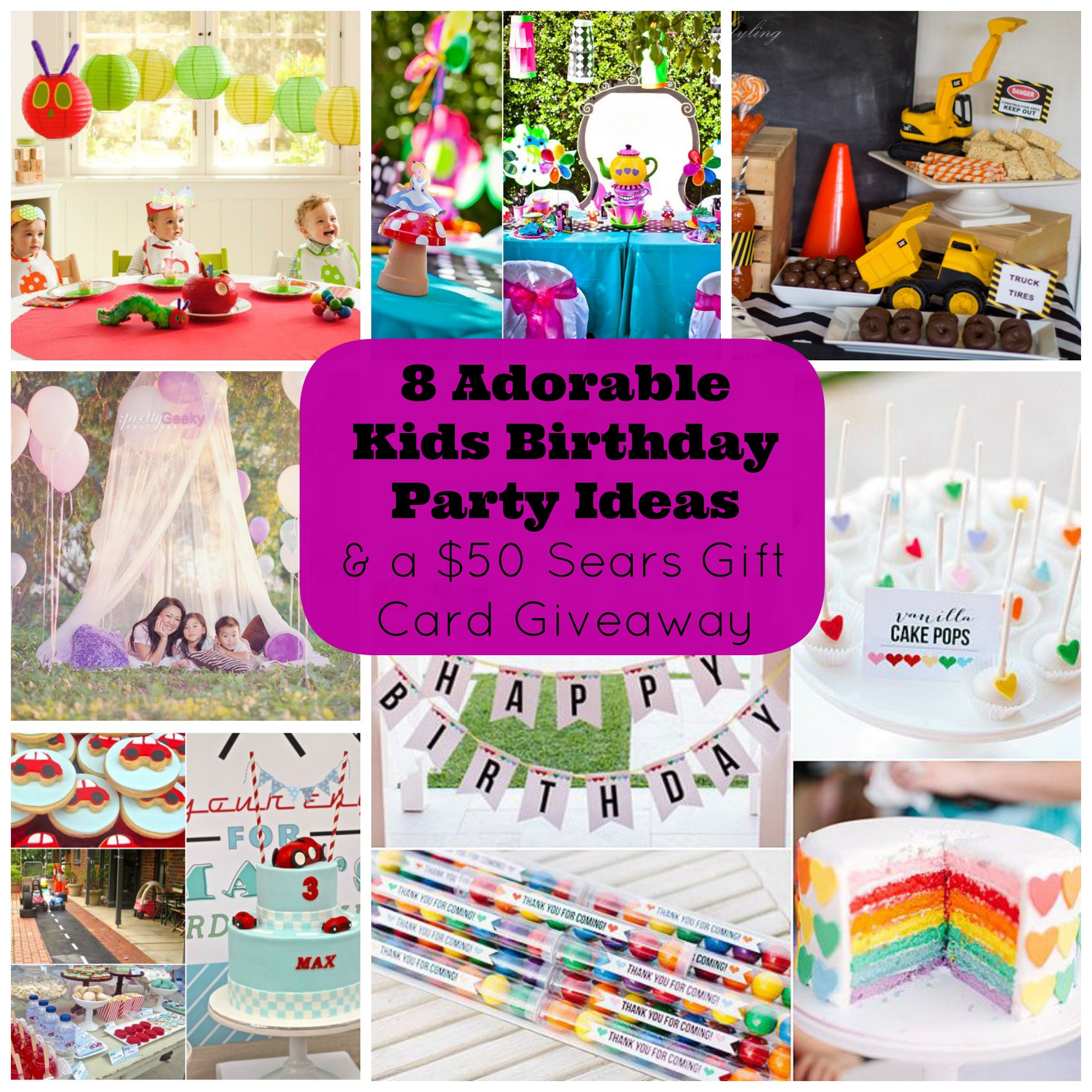 8 Adorable Kids Birthday Party Ideas and a Giveaway for a $50