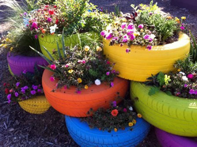 DIY Rainbow Tire Garden