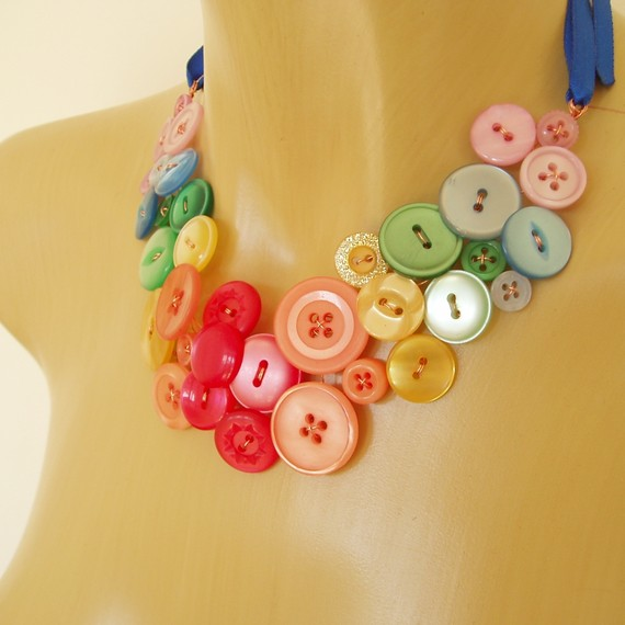 Handmade Over The Rainbow Button Necklace